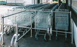 Shopping cart supermarket waiting Royalty Free Stock Photos