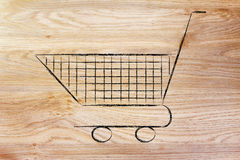 Shopping cart, symbol of marketing techniques and strategy Stock Photo