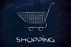 Shopping cart, symbol of marketing techniques and strategy Stock Image