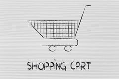 Shopping cart, symbol of marketing techniques and strategy Royalty Free Stock Photos