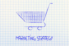 Shopping cart, symbol of marketing techniques and strategy Stock Images
