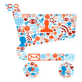 Shopping cart symbol with media icons texture Stock Photo