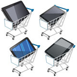 Shopping cart with tablet Stock Image