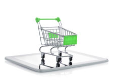Shopping cart on tablet pc Stock Image