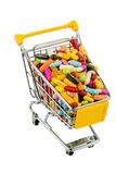 Shopping cart with tablets Royalty Free Stock Images