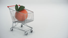 Shopping cart with tangerine Stock Image
