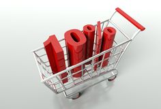Shopping cart and ten percent discount Stock Image