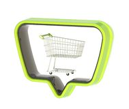 Shopping cart in a text bubble isolated Royalty Free Stock Photography