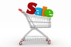 Shopping cart and text 3d render Stock Photography