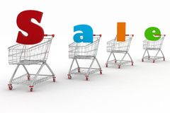 Shopping cart and text 3d render Royalty Free Stock Images