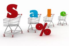 Shopping cart and text 3d render Royalty Free Stock Image