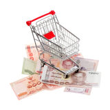 Shopping cart on Thai banknotes Stock Photo