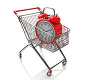 Shopping cart time. Shopping cart for design-time information related to trade and time Royalty Free Stock Images