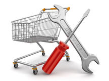 Shopping Cart with Tools  (clipping path included) Royalty Free Stock Images