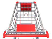 Shopping cart, top view. 3D render Royalty Free Stock Photo