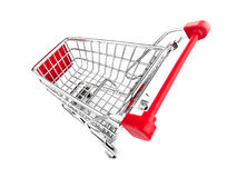 Shopping cart top view isolated Royalty Free Stock Photos