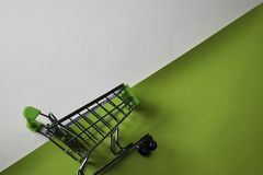 Shopping Cart on top view office desk table of Business workplace and business objects stock images