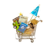 Shopping cart for travel Royalty Free Stock Image