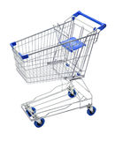 Shopping Cart Trolley. An empty metal shopping cart or trolly isolated on white Stock Images