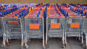 Shopping cart trolley baskets Stock Photography