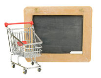 Shopping Cart and Chalkboard Stock Photos