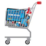 Shopping cart shopping trolley with goods. Shopping cart shopping trolley with different technical goods royalty free illustration