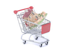 Shopping cart trolley with house Royalty Free Stock Images