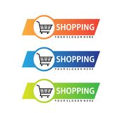 Shopping cart trolley inside a circle with ribbon banner vector icon logo design. Template royalty free illustration