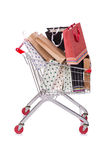 The shopping cart trolley isolated on the white background Stock Photography