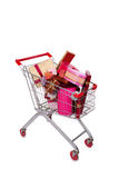 The shopping cart trolley isolated on the white background Royalty Free Stock Image