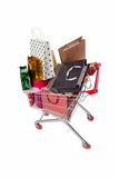 The shopping cart trolley isolated on the white background Stock Photos