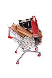The shopping cart trolley isolated on the white background Royalty Free Stock Photography