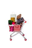 The shopping cart trolley isolated on the white background Royalty Free Stock Photos