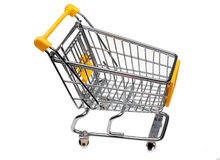 Shopping cart. A shopping cart or trolley over white Royalty Free Stock Photos