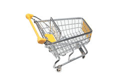 Shopping cart. A shopping cart or trolley over white Stock Photo