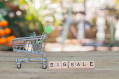 Shopping cart or trolley with text ,concept shopping Royalty Free Stock Image