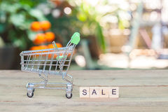 Shopping cart or trolley with text ,concept shopping Royalty Free Stock Photo