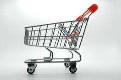 Shopping cart, trolley on white background Royalty Free Stock Photos