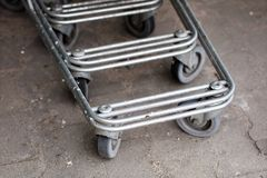 The shopping cart trolleys are placed under the market. Shopping stock photo