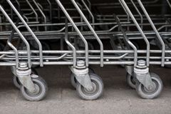 The shopping cart trolleys are placed under the market. Shopping royalty free stock images