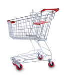 Shopping Cart Trolly. An empty metal shopping cart or trolly isolated on white. Real photograph not CGI Stock Images