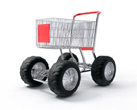 Shopping cart tubo speed. Shopping cart turbo speed over white background Royalty Free Stock Image