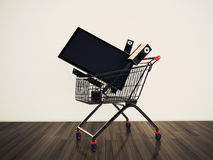 Shopping cart TV Stock Image