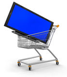 Shopping Cart and TV (clipping path included) Stock Photos