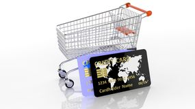 Shopping cart with two credit cards Stock Image