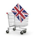 Shopping cart with UK Flag Stock Photography