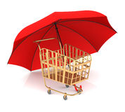 Shopping Cart and Umbrella Stock Images