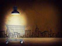 Shopping cart under lamp Stock Photography