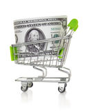 Shopping cart with US dollar Royalty Free Stock Images