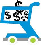 Shopping cart with usd inside Royalty Free Stock Images